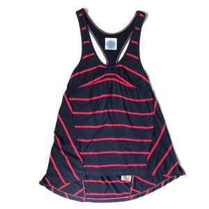 Free People Navy and Pink Striped Racerback Tank